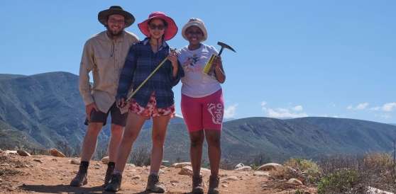 Dr Rob Muir, Dr Miengah Abrahams and Ms Hadebe in the field